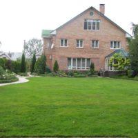 Зеленый газон перед домом